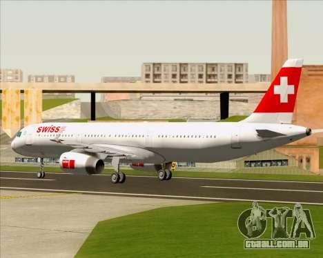 Airbus A321-200 Swiss International Air Lines para GTA San Andreas vista traseira