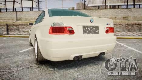 BMW M3 E46 2001 Tuned Wheel White para GTA 4 traseira esquerda vista