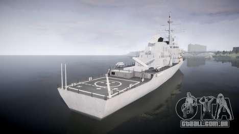 US Navy Destroyer Arleigh Burke para GTA 4 traseira esquerda vista