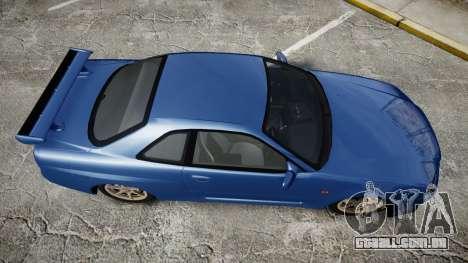 Nissan Skyline R-34 V-spec para GTA 4 vista direita