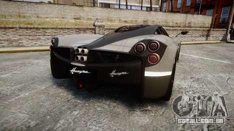 Pagani Huayra 2013 Carbon para GTA 4 traseira esquerda vista