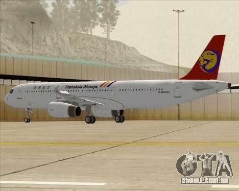 Airbus A321-200 TransAsia Airways para GTA San Andreas vista traseira