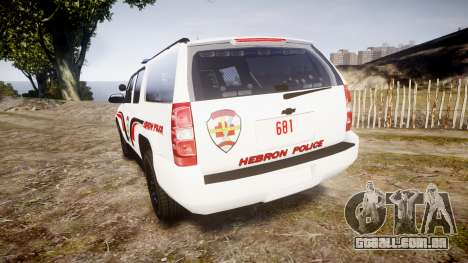 Chevrolet Suburban 2008 Hebron Police [ELS] Blue para GTA 4 traseira esquerda vista