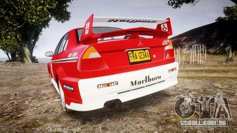 Mitsubishi Lancer Evolution VI Rally Marlboro para GTA 4 traseira esquerda vista