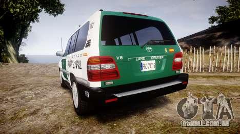 Toyota Land Cruiser Guardia Civil Cops [ELS] para GTA 4 traseira esquerda vista