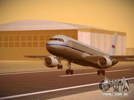 Airbus A320-214 Aeroflot Retrojet para GTA San Andreas esquerda vista