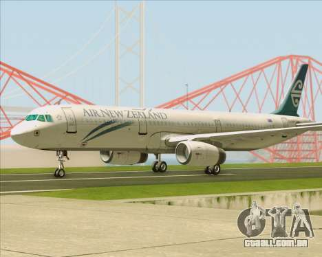 Airbus A321-200 Air New Zealand para GTA San Andreas vista traseira