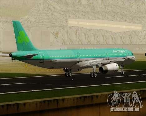 Airbus A321-200 Aer Lingus para GTA San Andreas vista direita