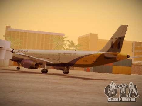 Airbus A321-232 Monarch Airlines para GTA San Andreas traseira esquerda vista