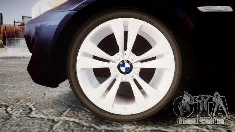 BMW 530d F11 Unmarked Police [ELS] para GTA 4 vista de volta