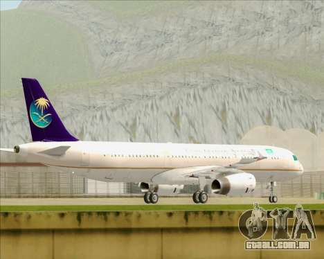 Airbus A321-200 Saudi Arabian Airlines para GTA San Andreas traseira esquerda vista