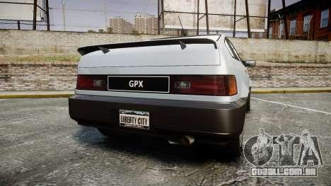 Dinka Blista Compact GPX para GTA 4 traseira esquerda vista