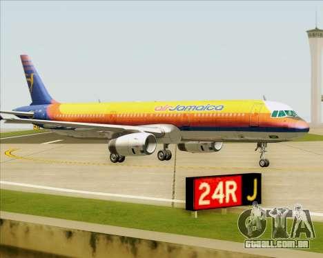 Airbus A321-200 Air Jamaica para GTA San Andreas vista superior