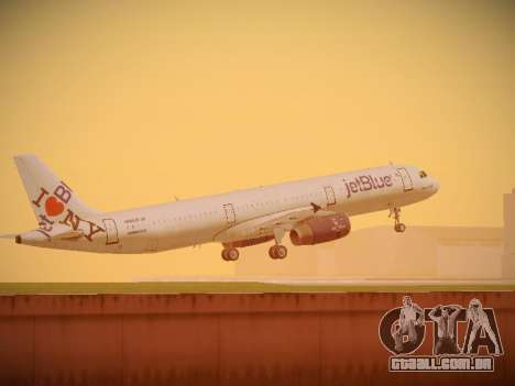 Airbus A321-232 jetBlue I love Blue York para as rodas de GTA San Andreas