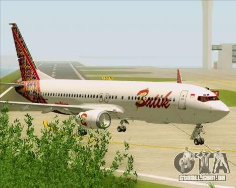 Boeing 737-800 Batik Air para GTA San Andreas vista traseira
