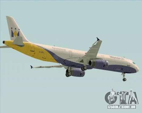 Airbus A321-200 Monarch Airlines para vista lateral GTA San Andreas