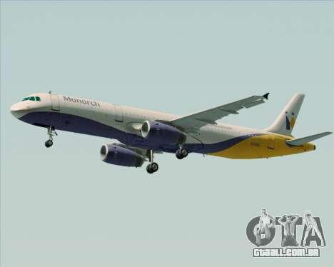 Airbus A321-200 Monarch Airlines para GTA San Andreas vista interior