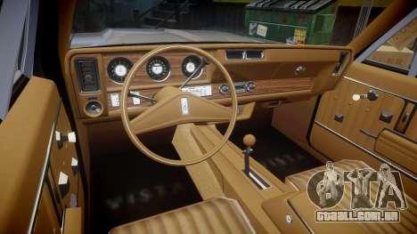 Oldsmobile Vista Cruiser 1972 Rims2 Tree5 para GTA 4 vista de volta