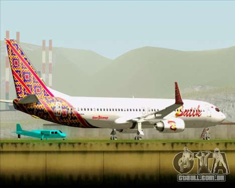 Boeing 737-800 Batik Air para GTA San Andreas vista superior