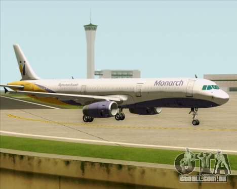 Airbus A321-200 Monarch Airlines para GTA San Andreas vista traseira