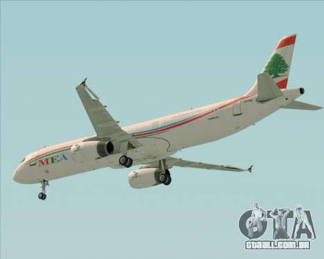 Airbus A321-200 Middle East Airlines (MEA) para vista lateral GTA San Andreas