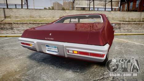 Pontiac Le Mans 1971 Rims1 para GTA 4 traseira esquerda vista