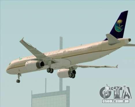 Airbus A321-200 Saudi Arabian Airlines para GTA San Andreas vista direita
