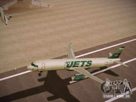 Airbus A321-232 jetBlue NYJets para as rodas de GTA San Andreas