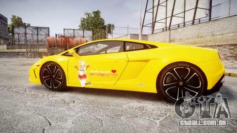 Lamborghini Gallardo 2013 Honoka Kousaka para GTA 4 esquerda vista