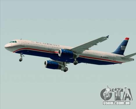 Airbus A321-200 US Airways para vista lateral GTA San Andreas