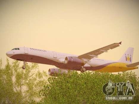 Airbus A321-232 Monarch Airlines para GTA San Andreas vista interior