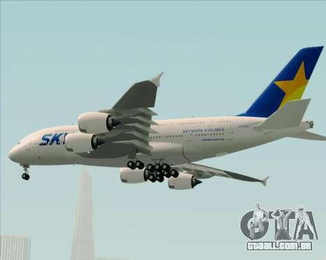 Airbus A380-800 Skymark Airlines para GTA San Andreas vista inferior
