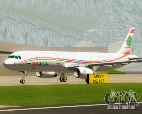 Airbus A321-200 Middle East Airlines (MEA) para GTA San Andreas vista superior