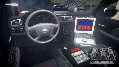 Chevrolet Suburban 2008 Hebron Police [ELS] Blue para GTA 4 vista de volta