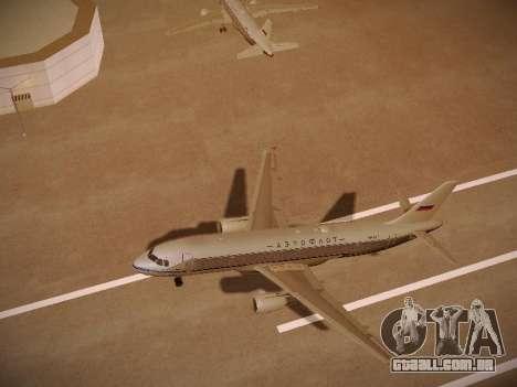 Airbus A320-214 Aeroflot Retrojet para GTA San Andreas vista superior