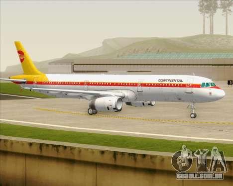 Airbus A321-200 Continental Airlines para GTA San Andreas vista superior