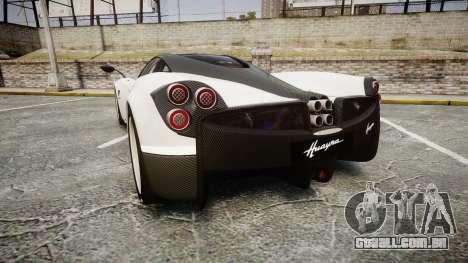 Pagani Huayra 2013 [RIV] Carbon para GTA 4 traseira esquerda vista