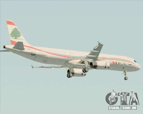 Airbus A321-200 Middle East Airlines (MEA) para GTA San Andreas vista inferior