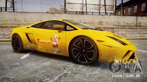 Lamborghini Gallardo 2013 Honoka Kousaka para GTA 4 vista de volta