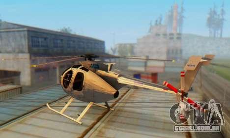 O MD500E helicóptero v3 para GTA San Andreas traseira esquerda vista
