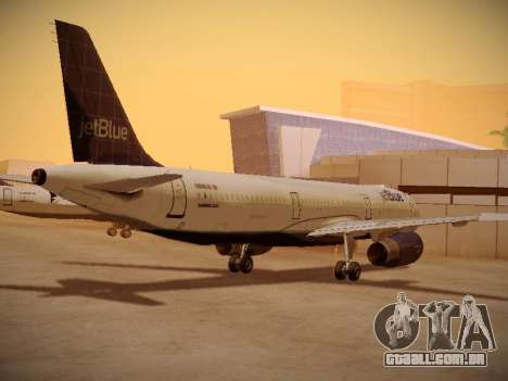 Airbus A321-232 jetBlue Batty Blue para GTA San Andreas traseira esquerda vista