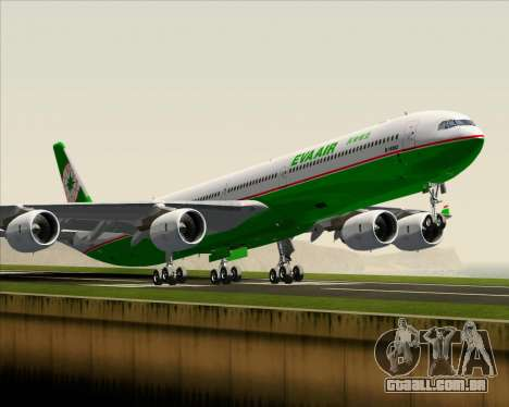 Airbus A340-600 EVA Air para GTA San Andreas vista interior