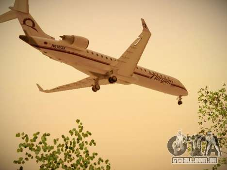 Bombardier CRJ-700 Horizon Air para GTA San Andreas traseira esquerda vista