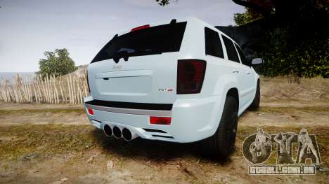 Jeep Grand Cherokee SRT8 stock para GTA 4 traseira esquerda vista