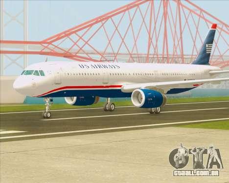 Airbus A321-200 US Airways para GTA San Andreas traseira esquerda vista