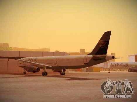 Airbus A321-232 Cyprus Airways para GTA San Andreas traseira esquerda vista