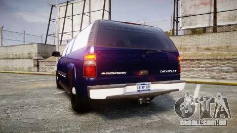 Chevrolet Suburban Undercover 2003 Grey Rims para GTA 4 traseira esquerda vista