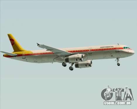 Airbus A321-200 Continental Airlines para GTA San Andreas traseira esquerda vista