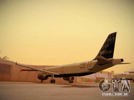 Airbus A321-232 jetBlue Airways para GTA San Andreas traseira esquerda vista