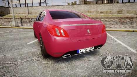 Peugeot 508 v1.2 para GTA 4 traseira esquerda vista
